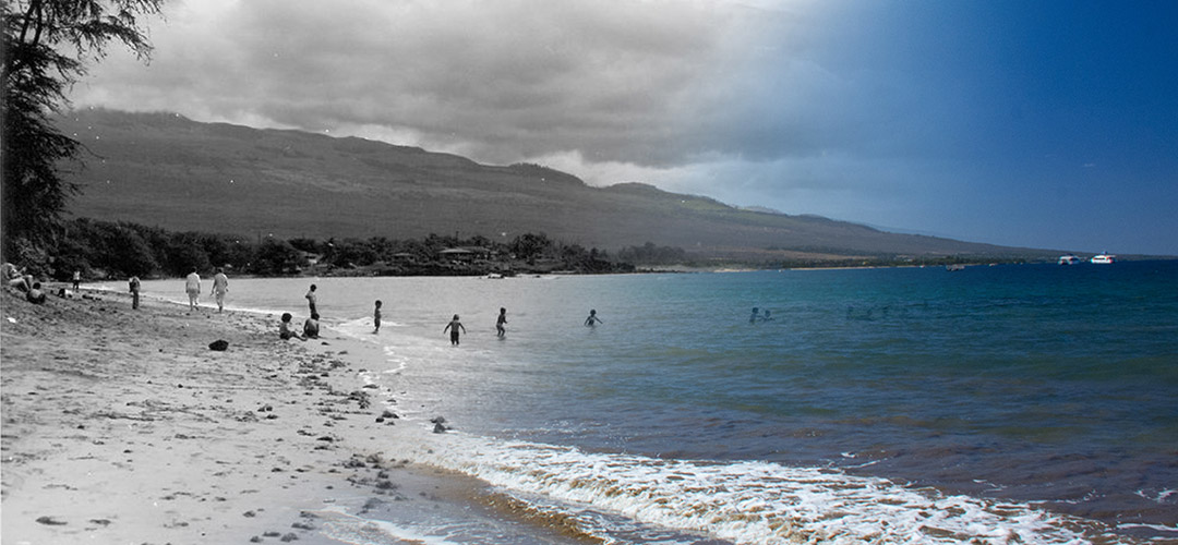 People swimming on a beach. The image juxtaposes former and current Maui.